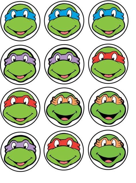 TMNT Birthday cupcake toppers THESE ARE EDIBLE CUPCAKE TOPPERS! Only $5 a dozen, can't beat that!