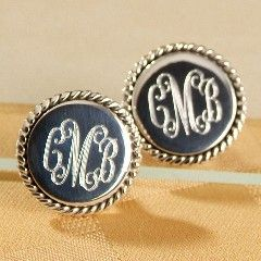 Monogrammed studs.. Want these with my new initials for after the wedding! :)