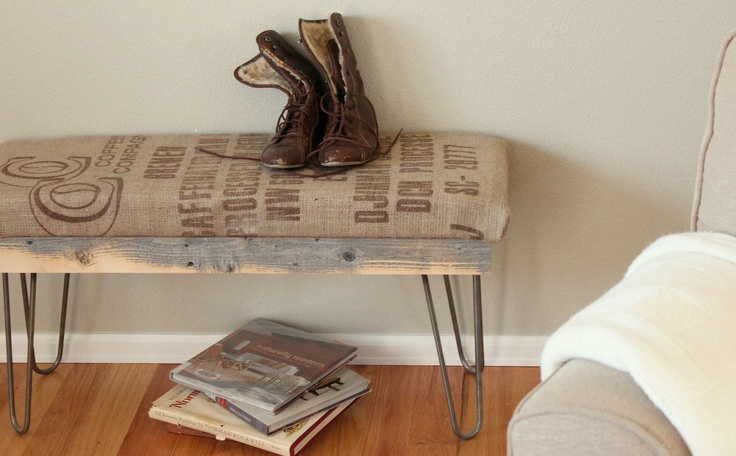 Reclaimed Wood Coffee Sack, Hairpin Leg Bench