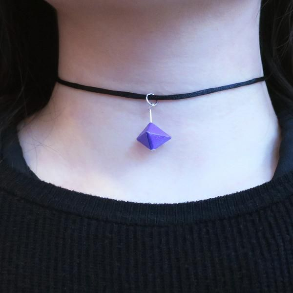This origami geo necklace follow the geometric trend and approach to the new style of origami craft.  - Matching earrings are also available here. - Material: p