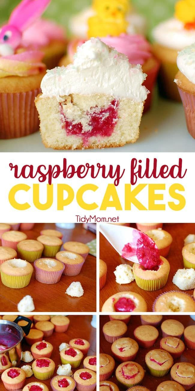 Raspberry Filled Vanilla Cupcakes With Butter Cream Frosting