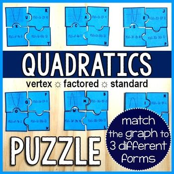 In this puzzle activity, students match a parabola to 3 forms of its equation: in vertex form, in factored form, and in standard form.