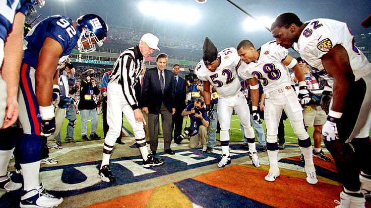 Super Bowl XXXV- Baltimore Ravens vs New York Giants. The coin toss.
