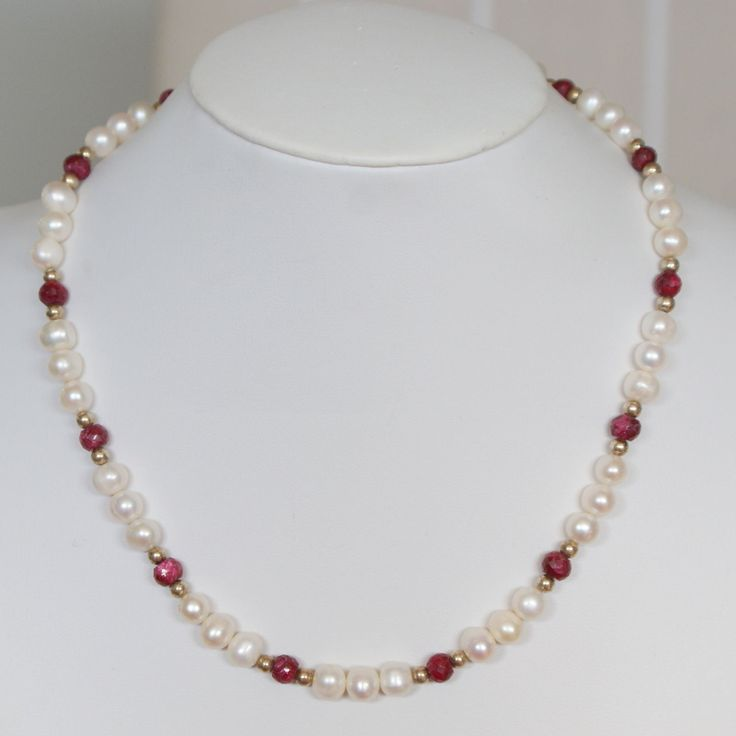 c1980s Vintage Sterling Real Pearl and African Ruby Necklace by VintageJewelleryCo on Etsy
