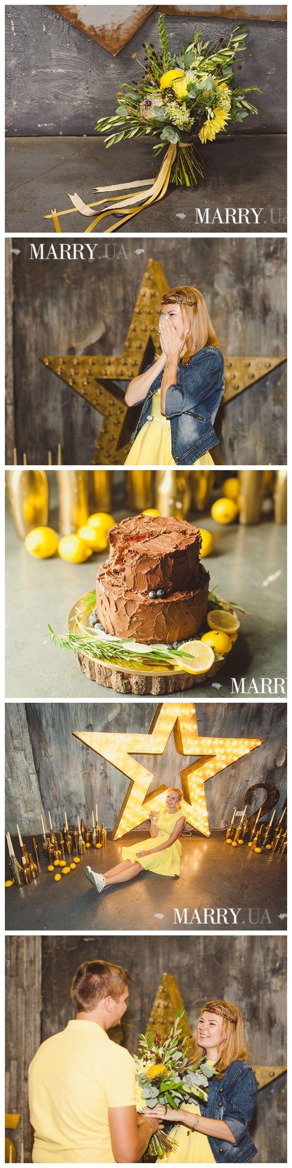 СЮРПРИЗ НА ДЕНЬ РОЖДЕНИЯ: СТИЛЬНАЯ ЛИМОННАЯ ВЕЧЕРИНКА. Yellow bday party: chocolate cake, a lot of lemons and yellow color. Great surprise for wife.