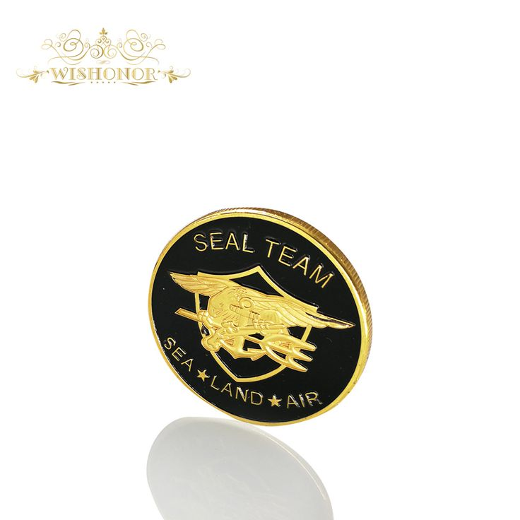 Free Shipping Memorial Coins Seal Team Department of The Navy United States Of America With 24K Gold Plated Coin 40*3mm