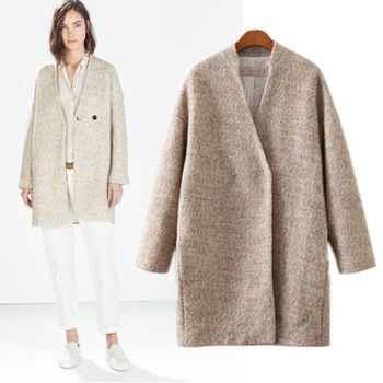Casacos Femininos 2014 Winter ZA New Fashion Simple Beige Long Cashmere Wool Coat Loose One Button Free Shipping B2016