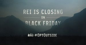 "Kristina K. Summer 2017 Section 1. ""REI #OptOutside Campaign"", 2015. REI made a bold move by closing its stores on Black Friday and encouraging employees and customers to spend the day outside instead. The social media campaign through which people posted pictures of themselves using the hashtag #OptOuside went viral because the company inspired and engaged them, and made them part of a movement against Capitalist craziness on Black Friday."