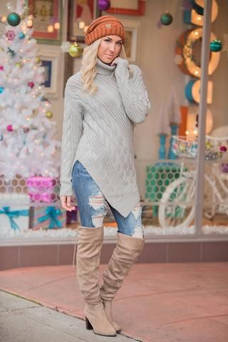 Point At You Cable Knit Turtleneck Pointed Hem Sweater (Heather Grey) - NanaMacs.com - 1