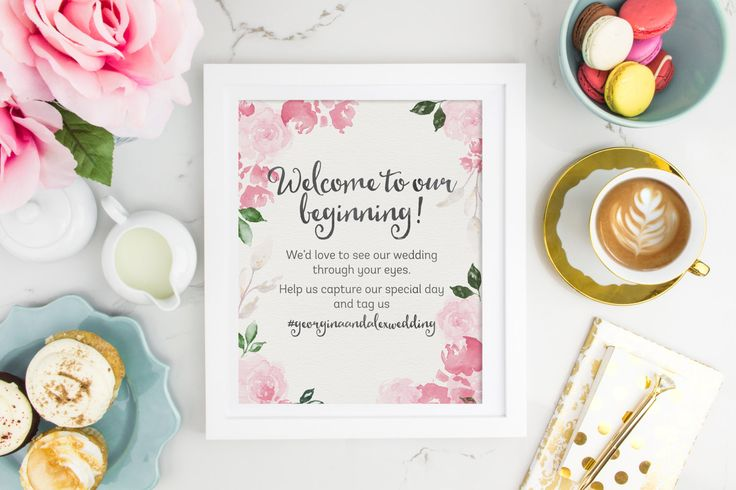 Hashtag Wedding Sign | Instant Download Wedding Sign | Printable Hashtag Wedding Sign | Floral Wedding | DIY Wedding Decor | Hashtag Sign by SmudgeCreativeDesign on Etsy