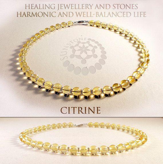 Citrine Gemstone Necklace with Tibetan by SunstoneCraft on Etsy