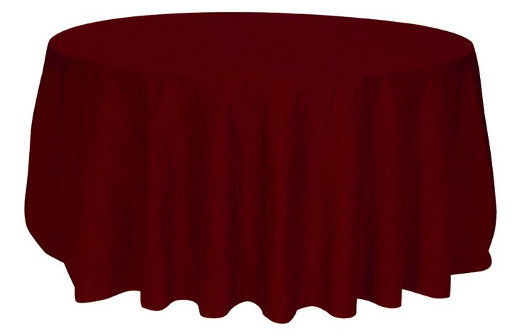 132 inch Burgundy Crinkle Taffeta Round Tablecloths for Weddings   Wholesale Table Linens