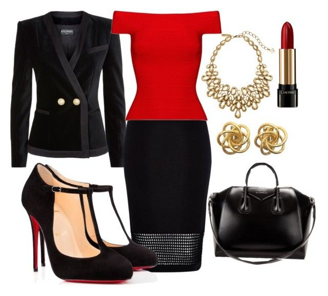 """Red and Black Business Style"" by redruby-418 ❤ liked on Polyvore featuring Balmain, River Island, Posh Girl, Givenchy, Christian Louboutin, Oscar de la Renta and Lancôme"