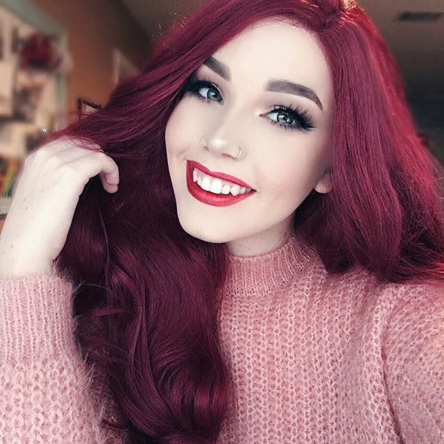 WEBSTA @ hailiebarber - Another one from yesterday Wig is Frosted Cranberry from @powderroomd. Makeup details in the previous post