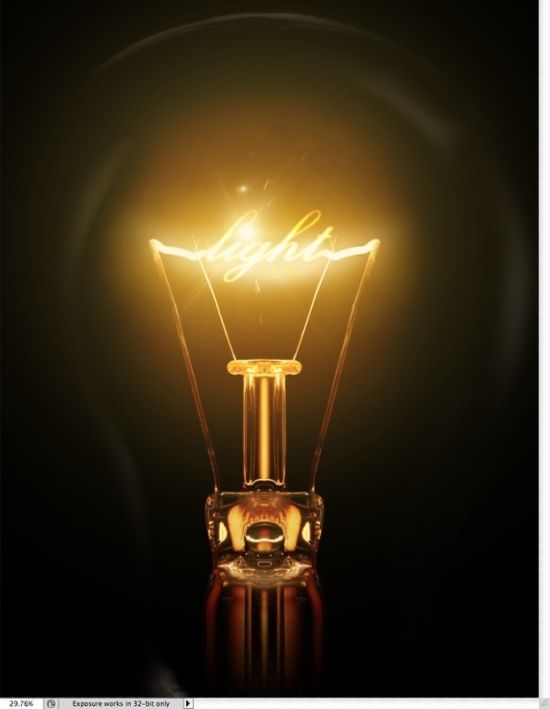 The use of glows and highlights are key to the success of this design. There is a clear light source, centered in the design, also reflected in the edges of the bulb itself.