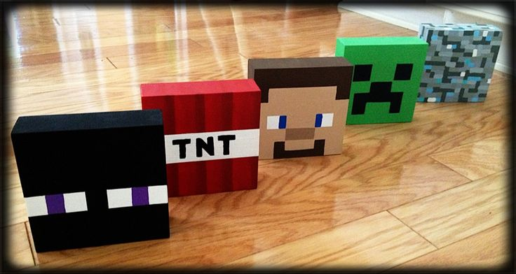Minecraft, DIY, bedroom decor, Enderman, TNT, Steve, Creeper, Diamond stone. I had old blocks w/ letters on them that my son outgrew, so I painted over them to update the blocks to match his new Minecraft bedroom decor. I used acrylic paints  painted freehand so it's close enough! ;)