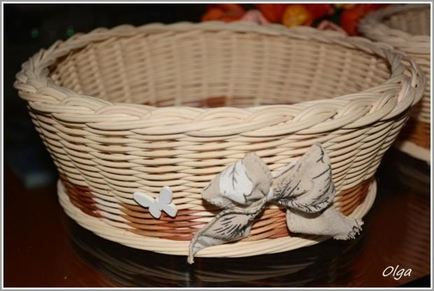Košík s pedigu s maškou a motýlikom. Autorka: olga45. Pedig, pletenie z pedigu, kôš, košík, diy, hand made, ručné práce. Artmama.sk