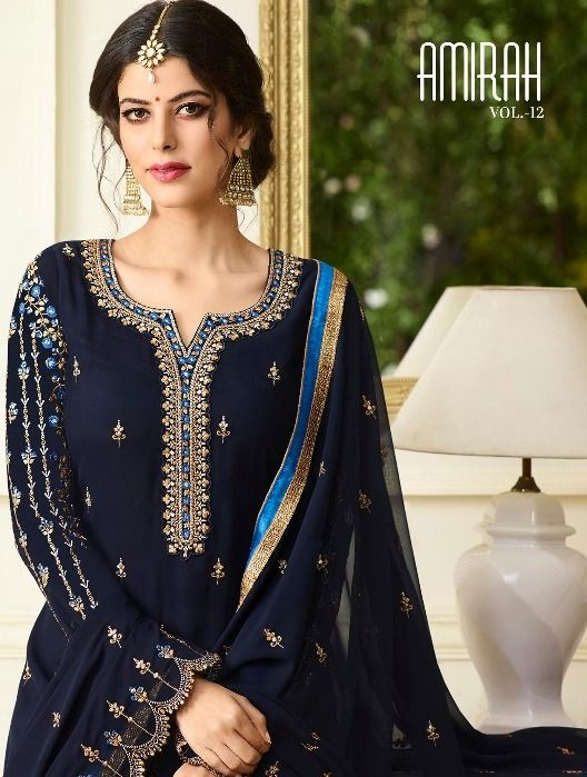 7ddc1353b7 Amirah Fashion Amirah Vol 12 Heavy Designer Faux Georgette with heavy embroidery  Work Straight Dress Material Collection at Wholesale Rate