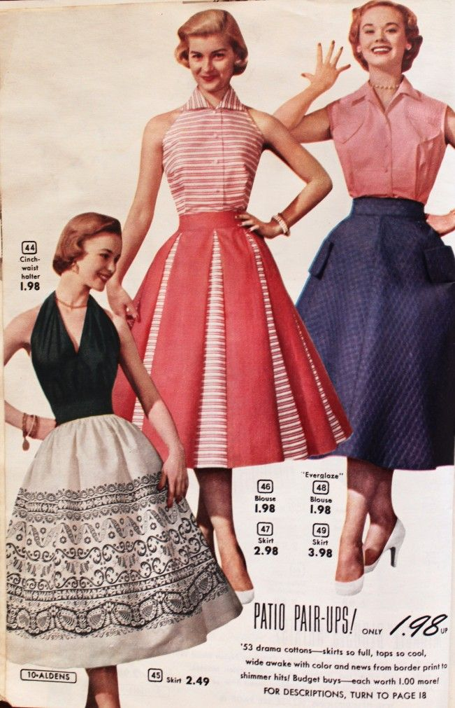 1950s fashion for women skirts