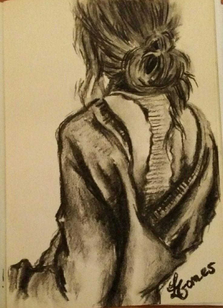 """""""dreamer"""" figurative art - female - vrouw charcoal / houtskool"""