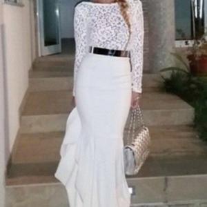 long sleeve lace top evening dress
