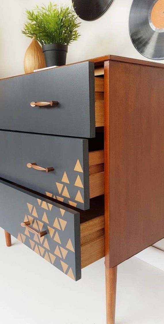 Retro Furniture Upcycled Painted Retro Chest Of Drawers Mid Century Modern Dresser Vintage Drawers In Grey Mcm Retro Dresser Furniture Diy Retro Furniture