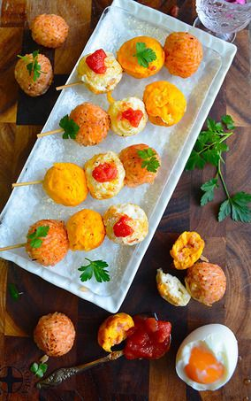 オムライスレシピ コンテスト たこ焼き器で簡単面白い 三色オムライス団子 お花見ピンチョス|レシピブログ