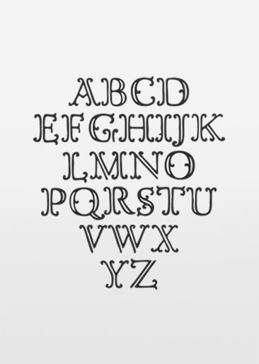 B/W Open alphabet - cute terminals!