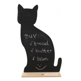 Memo board in the shape of a cat. The surface of the figure is covered with special chalkboard paint that allows you to write on it with cha...