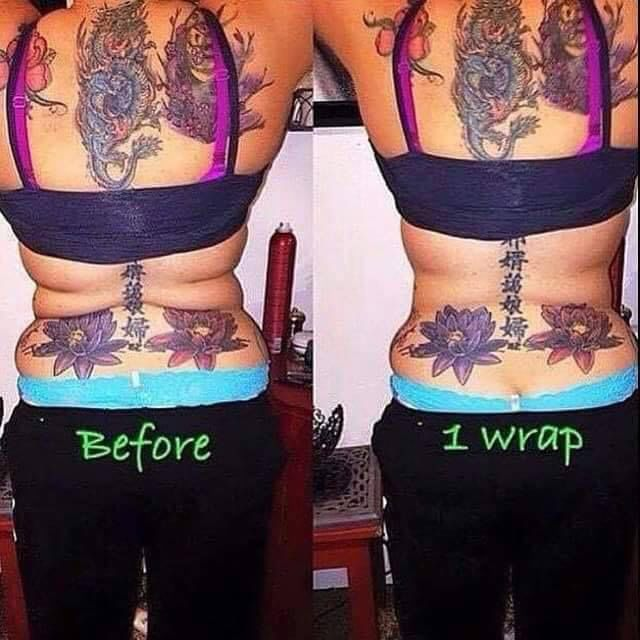"So I have skeptics all the time who pick a part before and after photos by saying things like, ""She's probably sucking it in."" Well I have some news for you…You can't suck in back-fat!!!  A full treatment of 4 #wraps used to get these amazing results!  www.famousbodywraps.com"
