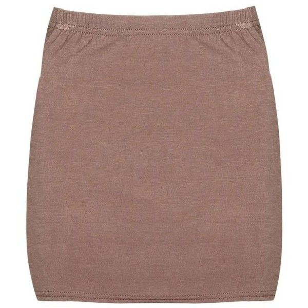 Boohoo Maisy Basic Jersey Mini Skirt ($7) ❤ liked on Polyvore featuring skirts, mini skirts, holographic mini skirt, circle skirt, short maxi skirt, brown maxi skirt and mini circle skirt