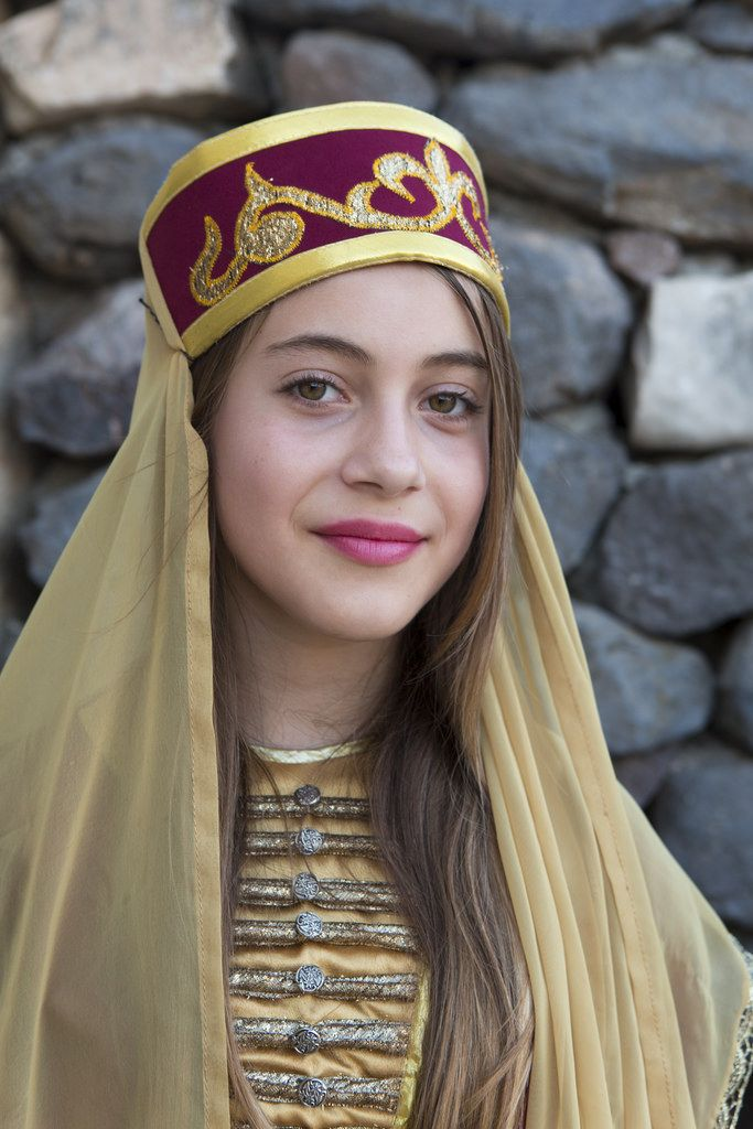Portrait of a Circassian girl,  in traditional garb.  Galilee Area - portrait.   Photo taken  by Itamar Grinberg for the Israeli Ministry of Tourism.
