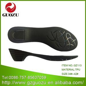 Black Sandal, Low Heel Leather Shoe Sole Gz-Jb113