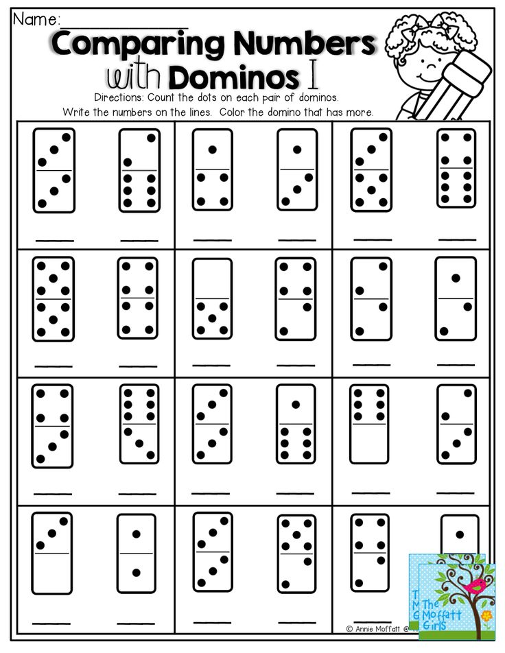 comparing numbers count the dots on the domino write the number color the domino that has. Black Bedroom Furniture Sets. Home Design Ideas