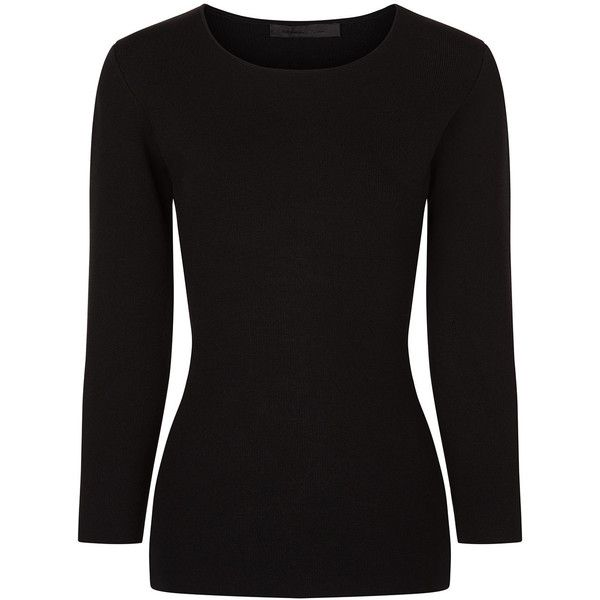 Alexander Wang Black Long Sleeved Side Slit Top ($615) ❤ liked on Polyvore featuring tops, stretch top, cut out top, long sleeve tops, rayon tops and 3/4 sleeve tops