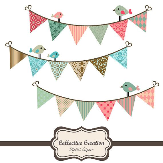 Cute Birds & Bunting Clipart  Ideal for by CollectiveCreation, $3.60