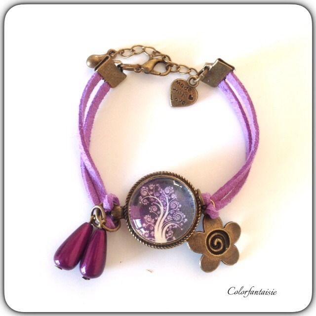 Bracelet Daim Violet et Breloques en bronze : Bracelet par colorfantaisie
