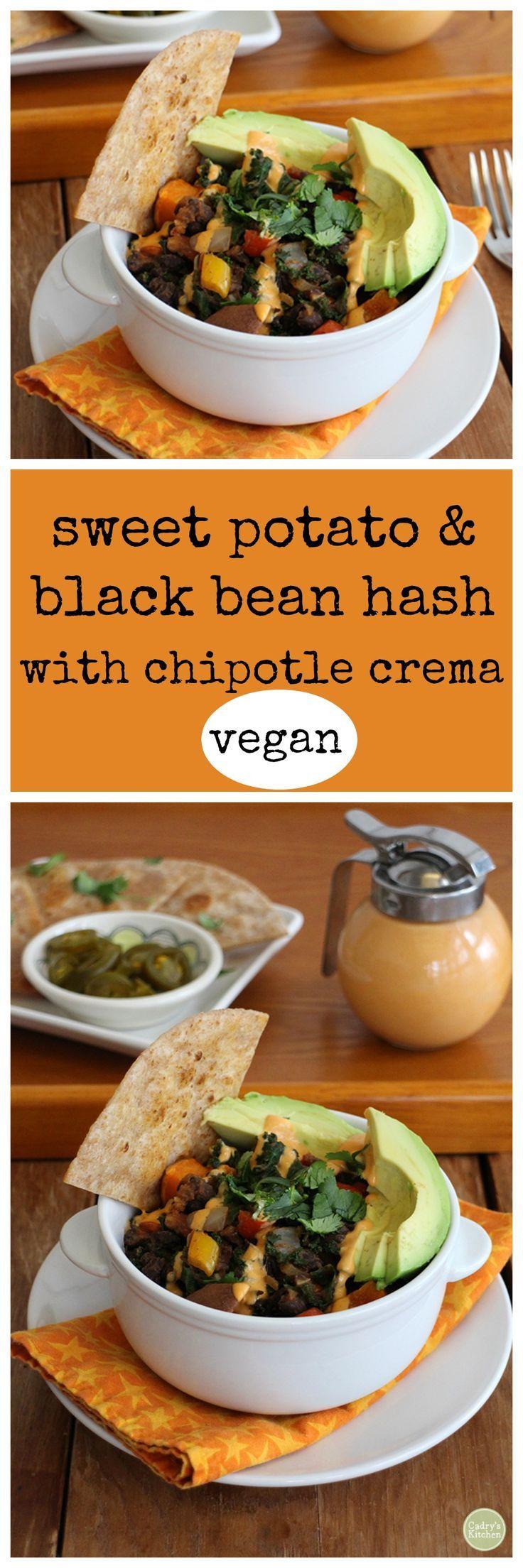 Sweet potato & black bean hash with chipotle crema - vegan   cadryskitchen.com