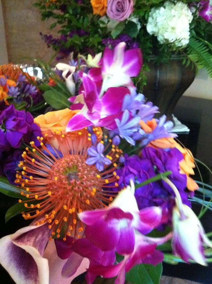 Purple & Orange Wedding flowers