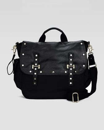 Rebecca Minkoff Logan Leather & Nylon Diaper Bag, Black on shopstyle.com