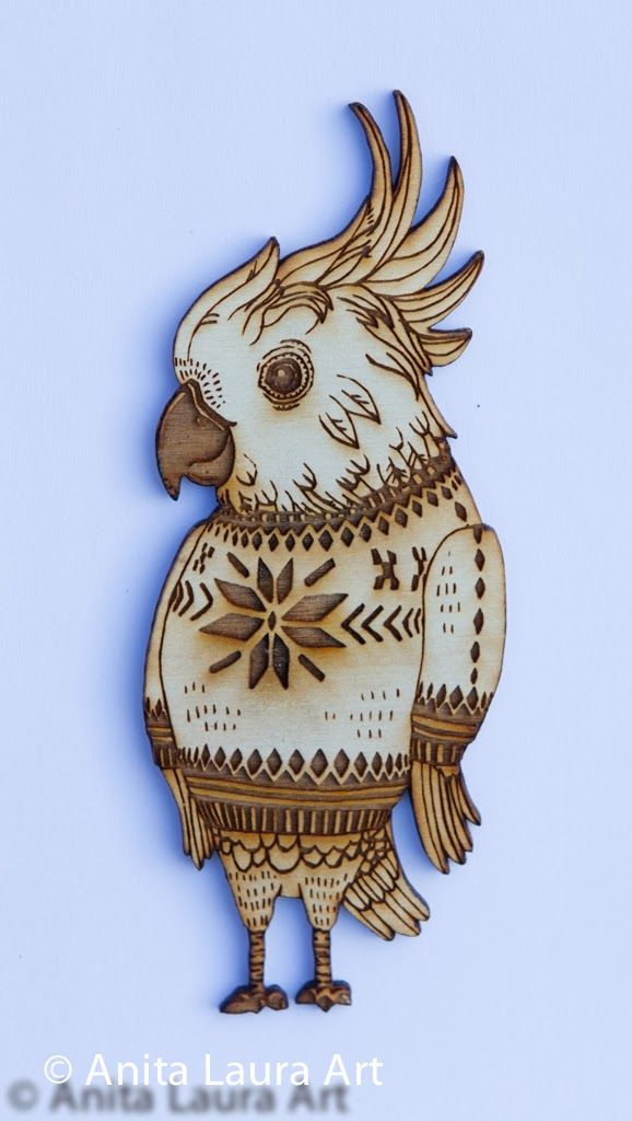 Wooden Cockatoo in Scandinavian Sweater - Hand drawn laser cut image - Comes as: framed art, key chain or magnet