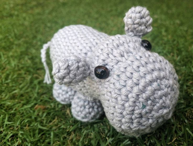 KaTerri Creations Hippo - Small Made with all new materials. Cotton blend yarn, plastic eyes and polyester toy filling. Length 16cm               Colour: Grey $20 each