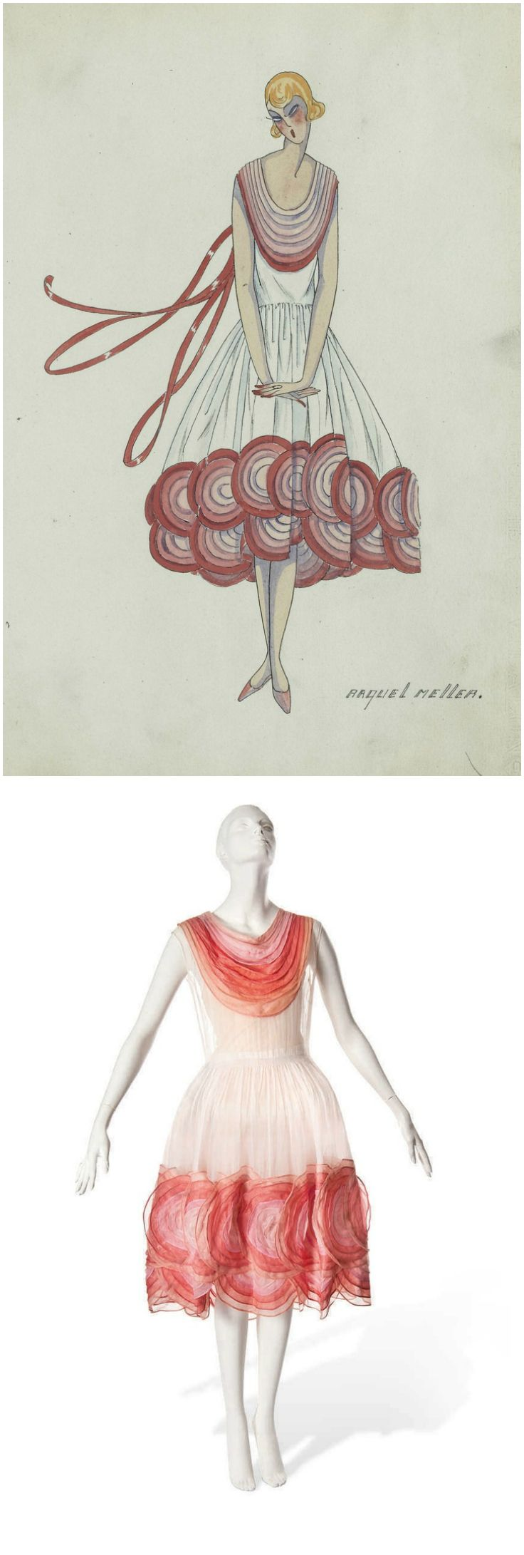 Bergère Légère, A Jeanne Lanvin Day Dress of White Organza, 1926, Christie's. Trimmed with a deep yoke of gradated rose coloured hoops, with low, shirred waistline, the skirts trimmed with matching rosy appliqué, overlapping circles. Illustration courtesy of Archives Lanvin. According to Christie's, this model seems to have been popular with Lanvin's Biarritz clients and also appears to have been sold to Raquel Meller, Spanish singer, actress and international star of the 1920s and 1930s.