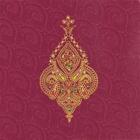 This is an exclusive designer invitation card made from high rich color shimmer finish card. The beautiful gold design with shimmering kundans make's a stunning look to the card.