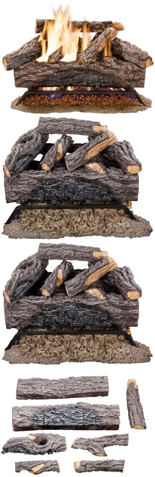 Decorative Logs Stone and Glass 38220: 18 In. Vented Natural Gas Fireplace Log Set Oak Logs Fire Heat Insert Vent Kit -> BUY IT NOW ONLY: $178.46 on eBay!