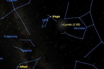 from Space.com,check out the Lyrid Meteor Shower, appearing live this weekend...