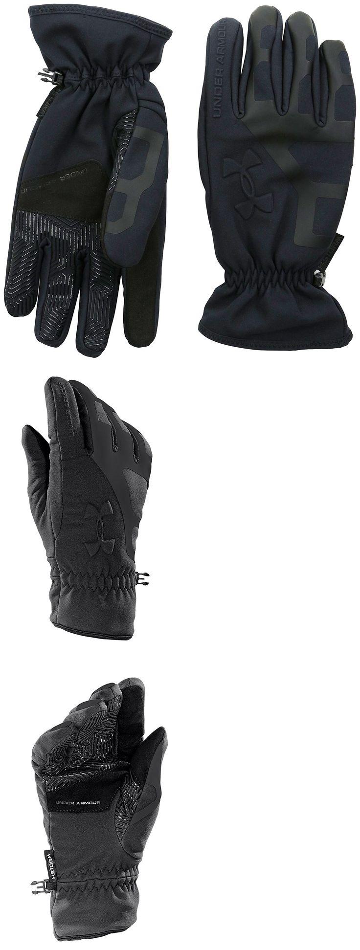 Mens leather gloves rei - Running Gloves 179810 Under Armour Mens Black Black Ua Storm Stealth Cgi Warmest Tech
