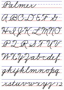 The Palmer method of penmanship - we started to learn this in 2nd grade and had to practice on specially lined paper every day - in pencil. You didn't get to go to using a pen until 4th grade.