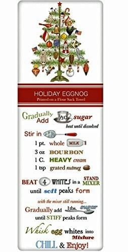 Charm your guests in the kitchen with a fabulous vintage look flour sack towel. By Mary Lake Thompson, featuring a charming Eggnog Holiday recipe!