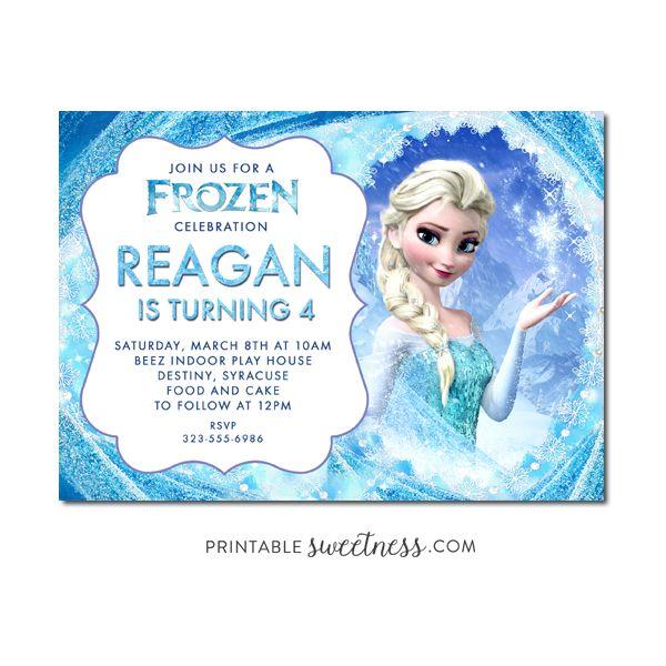 Frozen Birthday Party Invitation – Custom Personalized Printable Elsa   Printable Sweetness